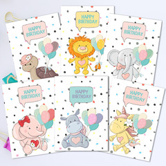 Fun Animals Toddler Birthday Card Front Set