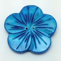 Blue Shell Flower Shaped Buttons