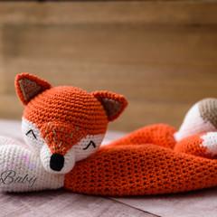Handmade Crochet Cotton Fox Comforter Orange White Baby Gift Baby Shower Gift