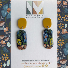 Alice Collection - Navy floral long oval Polymer Clay earrings