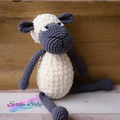Handmade Crochet Cotton Grey Sheep Baby Gift Baby Shower Gift
