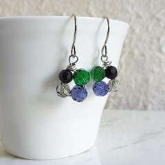 Art deco Small glass bead flower drop earring , Green Blue purple Black Gray