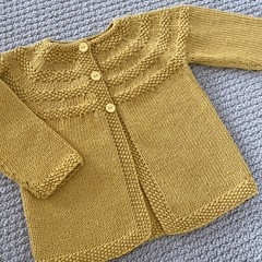 Yellow Cardigan - Size 1-2 years Handknitted in a wool cotton blend