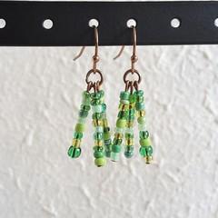 Natural Bohemian Colourful seed bead tassel / fringe dangling earrings , Green