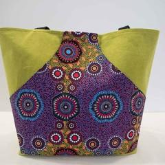 Lime Green Tote Bag - Kangaroo front pocket