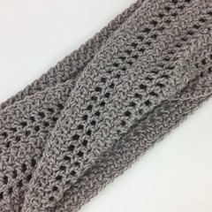Crochet Twisted Infinity Scarf | Wool & Bamboo | Hand Crocheted | Natural | Gift