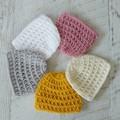Vintage Hand Crochet Knitted Newborn Baby Beanie Hat Cap