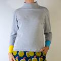 Organic Cotton Rib Grey Long Sleeve Polo Neck T-shirt with Cotton and Elastane B