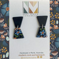 Alice Collection - Navy floral trapezoid Polymer Clay earrings