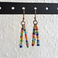 Tropical Hippie Colourful seed bead tassel / fringe dangling earrings , Rainbow