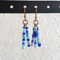 Tropical Hippie Colourful seed bead tassel / fringe dangling earrings , Blue