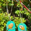 Handmade Earrings - Banksia and Native Bee Drops
