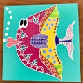 Hand Painted Fish Plaque for Kid's Room