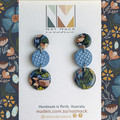 Alice Collection - Navy floral half circle Polymer Clay earrings