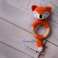 Crochet Fox Cotton Woodland Teether Baby Gift Baby Shower Gift Beech Wood