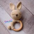 Handmade Crochet Easter Bunny Cotton Rabbit Teether Baby Gift Baby Shower Gift