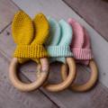 Handmade Crochet Bunny Ears Cotton Teether Baby Gift Baby Shower Gift Beech Wood
