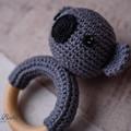 Crochet Dark Grey Koala Cotton Teether Baby Gift Baby Shower Gift Beechwood