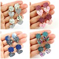 Hexagons & hearts dangle earrings
