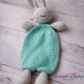 Handmade Crochet Cotton Grey Mint Rabbit Bunny Comforter Baby Gift Baby Shower