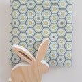 Fitted Cot Sheet - Cotton  - Hexagon, Mint, Yellow, White & Grey
