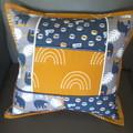 Nursery cushion cover, sloth cushion cover, patchwork cushion cover