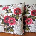 Vintage Retro  Flowers Barkcloth Cushion