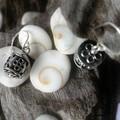 Flower motif sterling silver Bali barrel bead earrings