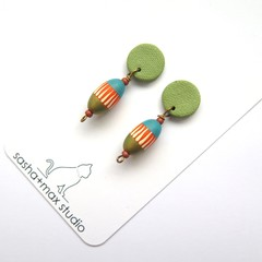 Bohemia blue and green polymer clay drop earrings