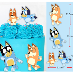 Bluey Dance Edible Icing Cake Topper Set PRE CUT #236