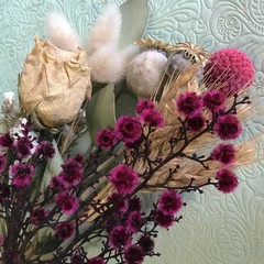 Pink & Natural- Dry bouquet - Dried & preserved flowers - 36cm - Natural - Poppy