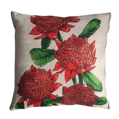 Vintage Australian Waratahs Wildflowers Linen Cushion