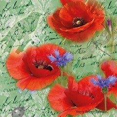 2 Paper Napkins / Serviettes for Decoupage / Parties / Weddings - Poppies Green