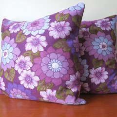 Retro - Vintage Flower Power Purple Cushions x 2