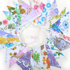 Vintage Retro Flower Power 'Multi-Colour Garden Party' Floral Flag Bunting x 2