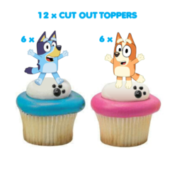 12x Bluey and Bingo Edible Wafer Circle Cupcake Toppers