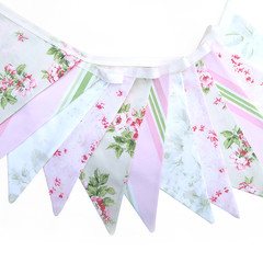 'Floral and Country Stripe Vintage Style' Flag Bunting