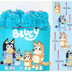 Bluey Family and logo Edible Icing Cake Topper Set PRE CUT