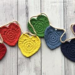 Mini rainbow heart bunting room decor - 100% cotton - FREE postage