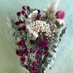 Pink & White - Dry bouquet - Dried flowers - 27cm - Natural - Boho - Decor