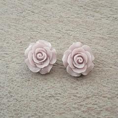 CLIP  ON MAUVE POLYMER CLAY EARRINGS, FLOWER ROSE EARRINGS, BRIDESMAID EARRINGS