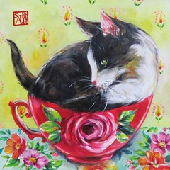 2 Paper Napkins / Serviettes for Decoupage / Parties / Weddings - Tea Cup Kitty