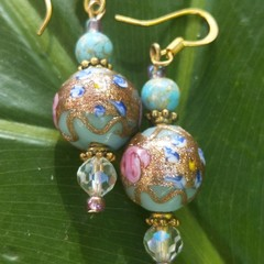 Pretty pink, blue & gold 'wedding cake' bead earrings.