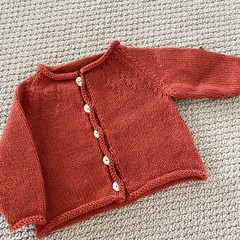 Orange Cardigan Size 3-6 months Hand knitted in pure wool