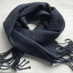 Handwoven Scarf, Merino Wool, Hand Dyed Dark Navy / Ink Blue