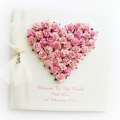 Baby Girl Keepsake card | Personalised | Gift Boxed | Paper Heart Pink Roses