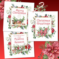 Christmas Cheer Card Fronts Square Set