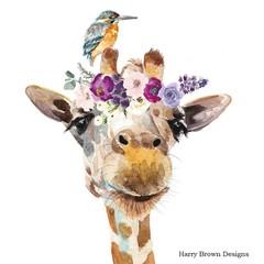2 Paper Napkins / Serviettes for Decoupage / Parties / Weddings - Flower Giraffe