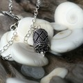 Granulated Bali barrel bead sterling silver pendant necklace