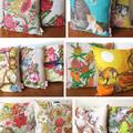Vintage Retro - Blue Retro Floral Linen Cushion Cover
